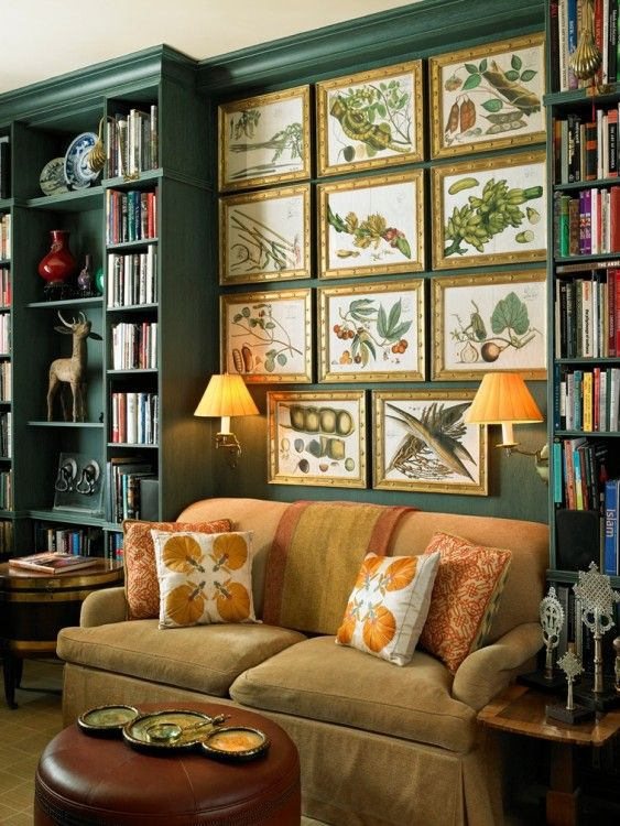 Living Room Library Design Ideas: Decorating With Botanicals (and An Easy DIY