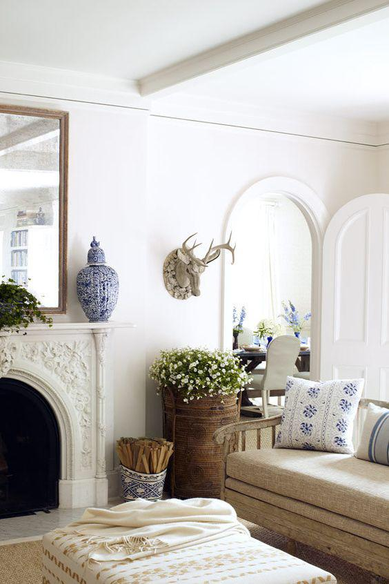 A Blue and White Home Designed by Carrier & Company - %