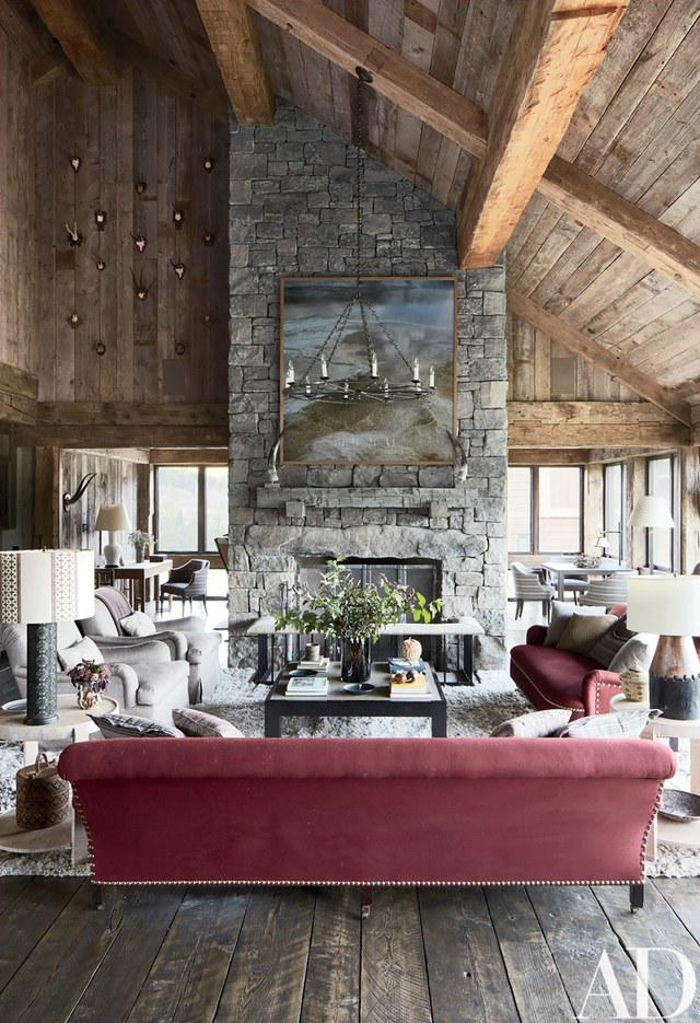 Rustic Living Room By Markham Roberts Inc By: A Montana Lodge Designed By Markham Roberts