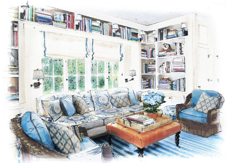 Cafe Design | Mark D. Sikes | Rendering - Family Room