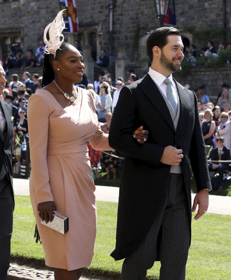 Serena Williams and Alexis Ohanian arrive at St George's Chapel at Windsor Castle for the wedding of Meghan Markle and Prince Harry. PRESS ASSOCIATION Photo. Picture date: Saturday May 19, 2018. See PA story ROYAL Wedding. Photo credit should read: Chris Radburn/PA Wire